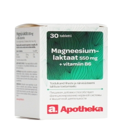 A. MAGNEESIUMLAKTAAT 550MG+VITAMIIN B6 TBL N30
